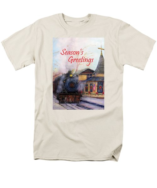 All Aboard At The New Hope Train Station Card Men's T-Shirt  (Regular Fit) by Loretta Luglio