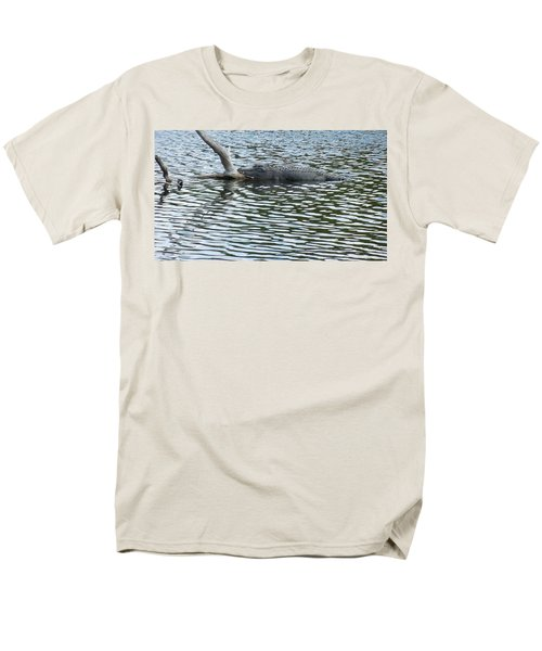 Men's T-Shirt  (Regular Fit) featuring the photograph Alligator Resting On A Log by Ron Davidson