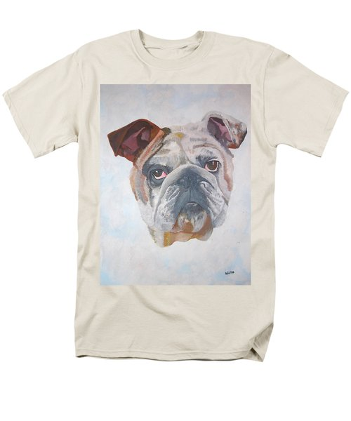 Men's T-Shirt  (Regular Fit) featuring the painting American Bulldog Pet Portrait by Tracey Harrington-Simpson