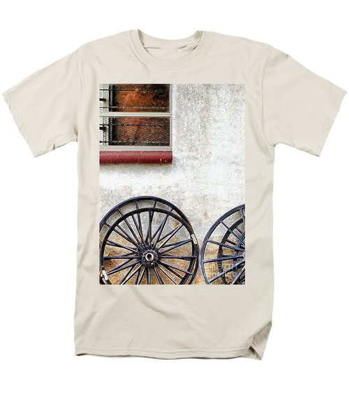 Men's T-Shirt  (Regular Fit) featuring the photograph Amish Buggy Wheels by Polly Peacock