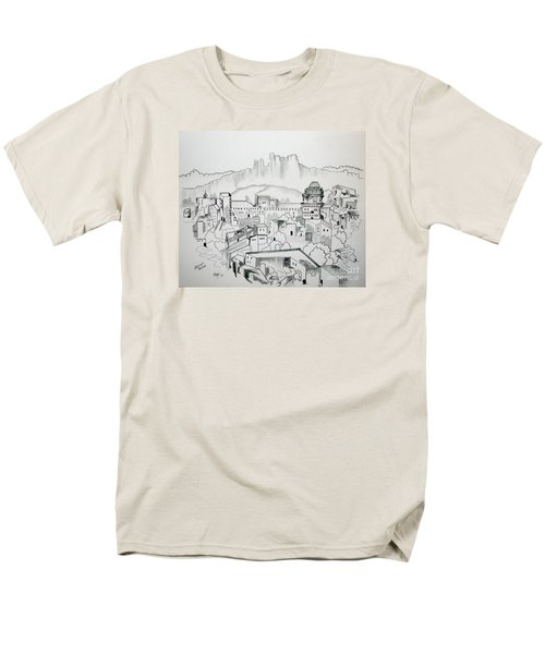 Men's T-Shirt  (Regular Fit) featuring the drawing Ancient City In Pen And Ink by Janice Rae Pariza