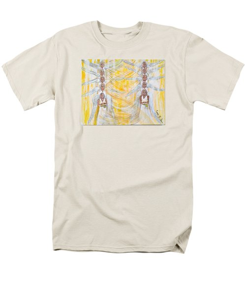 Men's T-Shirt  (Regular Fit) featuring the painting Angel Winds Flames Of Fire by Cassie Sears