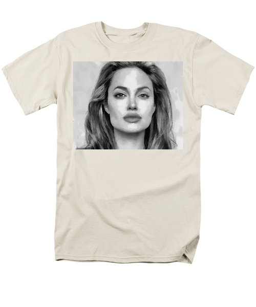 Men's T-Shirt  (Regular Fit) featuring the painting Angelina Jolie Black And White by Georgi Dimitrov