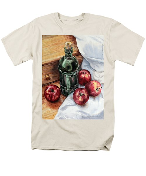 Men's T-Shirt  (Regular Fit) featuring the painting Apples And A Bottle Of Liqueur by Joey Agbayani