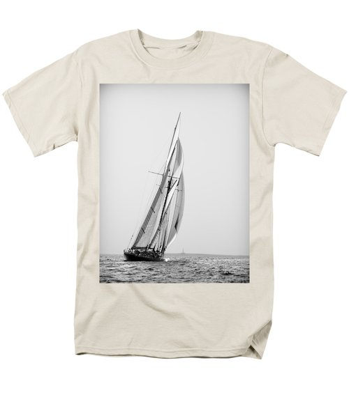 A Tall Ship In Mediterranean Water Approaching To Lighthouse Of Isla Del Aire - Menorca Men's T-Shirt  (Regular Fit) by Pedro Cardona