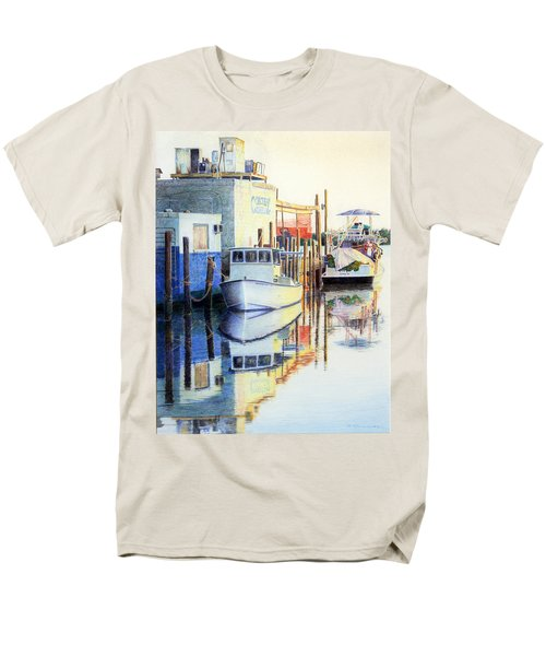 Men's T-Shirt  (Regular Fit) featuring the painting At Cortez Docks by Roger Rockefeller