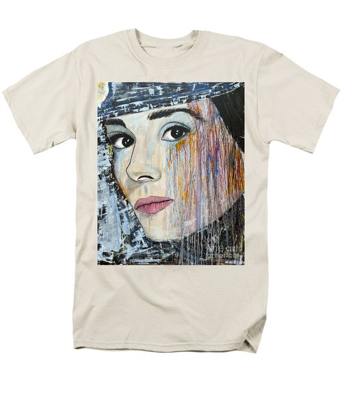 Men's T-Shirt  (Regular Fit) featuring the painting Audrey Hepburn-abstract by Ismeta Gruenwald