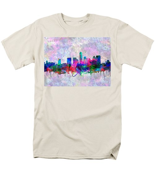 Austin Texas Skyline Watercolor 2 Men's T-Shirt  (Regular Fit) by Bekim Art