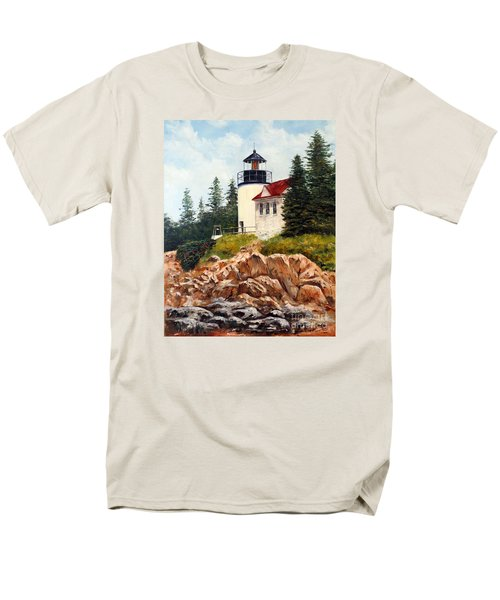 Men's T-Shirt  (Regular Fit) featuring the painting Bass Harbor Head Light by Lee Piper