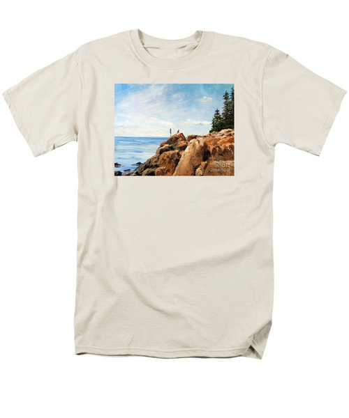 Men's T-Shirt  (Regular Fit) featuring the painting Bass Harbor Rocks by Lee Piper