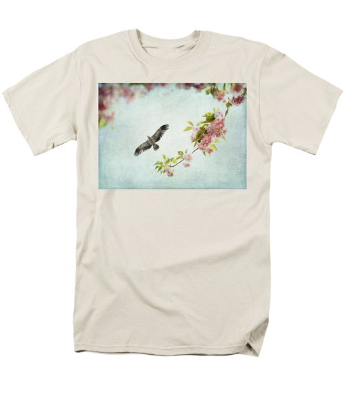 Bird And Pink And Green Flowering Branch On Blue Men's T-Shirt  (Regular Fit) by Brooke T Ryan
