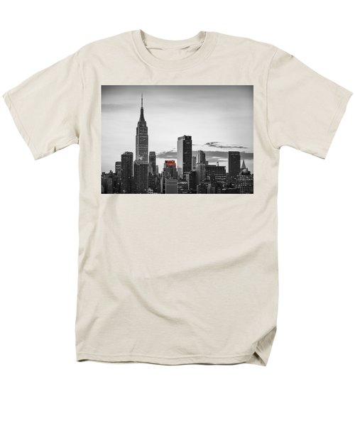 Black And White Version Of The New York City Skyline With Empire Men's T-Shirt  (Regular Fit) by Eduard Moldoveanu