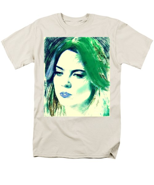 Blue Lips On Green Men's T-Shirt  (Regular Fit) by Kim Prowse