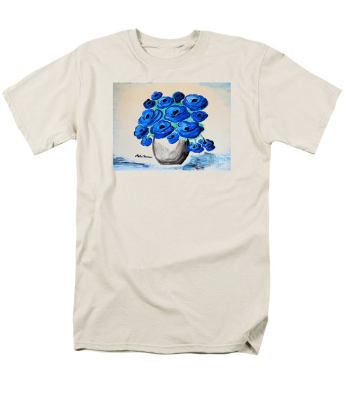 Blue Poppies Men's T-Shirt  (Regular Fit) by Ramona Matei