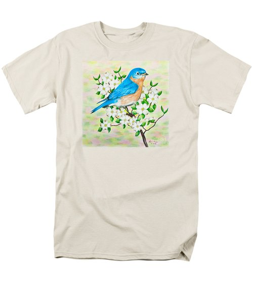 Bluebird And Dogwood Men's T-Shirt  (Regular Fit) by Lena Auxier