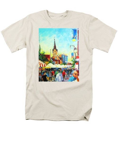Men's T-Shirt  (Regular Fit) featuring the painting Brady Street by Les Leffingwell