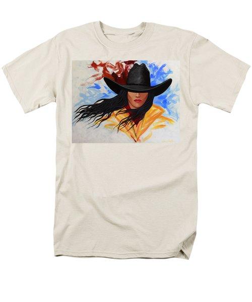 Brushstroke Cowgirl #3 Men's T-Shirt  (Regular Fit) by Lance Headlee