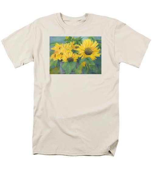 Bucket Of Sunflowers Colorful Original Painting Sunflowers Sunflower Art K. Joann Russell Artist Men's T-Shirt  (Regular Fit) by Elizabeth Sawyer