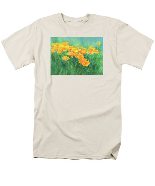 California Golden Poppies Field Bright Colorful Landscape Painting Flowers Floral K. Joann Russell Men's T-Shirt  (Regular Fit) by Elizabeth Sawyer