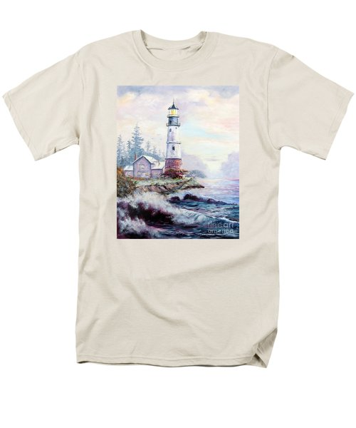Men's T-Shirt  (Regular Fit) featuring the painting California Lighthouse by Lee Piper