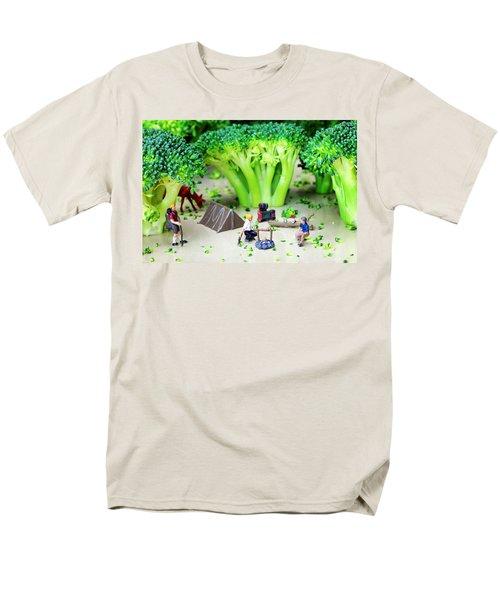 Camping Among Broccoli Jungles Miniature Art Men's T-Shirt  (Regular Fit) by Paul Ge