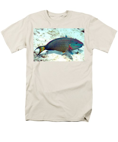 Men's T-Shirt  (Regular Fit) featuring the photograph Caribbean Stoplight Parrot Fish In Rainbow Colors by Amy McDaniel