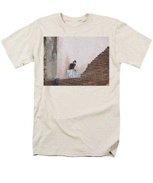Men's T-Shirt  (Regular Fit) featuring the photograph Cat Above The Roman Ruins by Tiffany Erdman