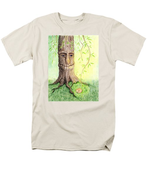 Men's T-Shirt  (Regular Fit) featuring the drawing Cat And Great Mother Tree by Keiko Katsuta
