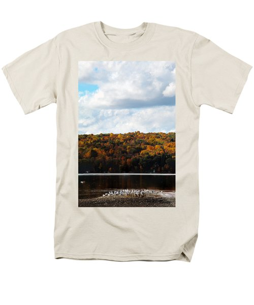 Men's T-Shirt  (Regular Fit) featuring the photograph Cayuga Lake In Colorful Fall Ithaca New York  by Paul Ge