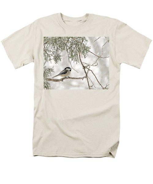 Chickadee In Snowstorm Men's T-Shirt  (Regular Fit) by Paula Guttilla