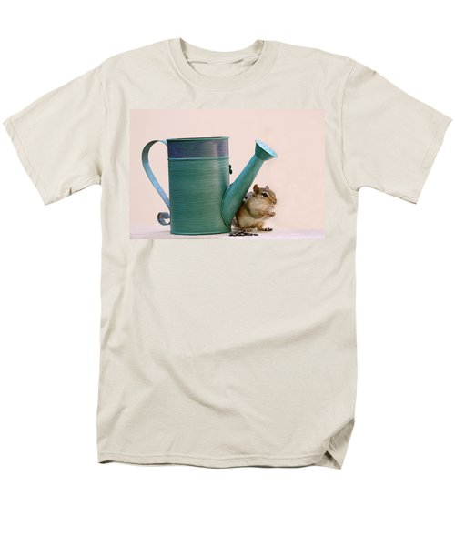 Chipmunk And Watering Can Men's T-Shirt  (Regular Fit) by Peggy Collins