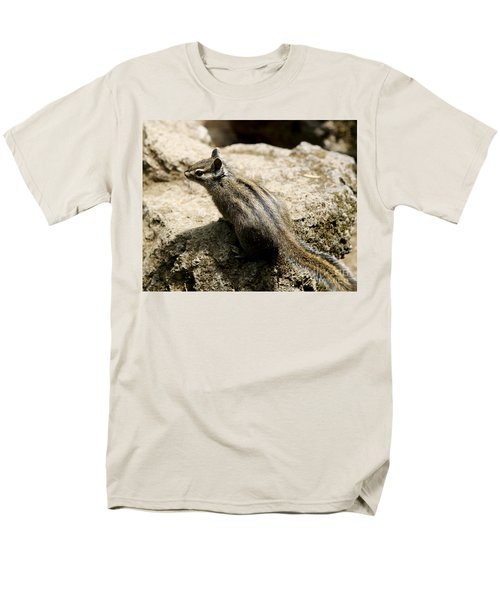 Men's T-Shirt  (Regular Fit) featuring the photograph Chipmunk On A Rock by Belinda Greb