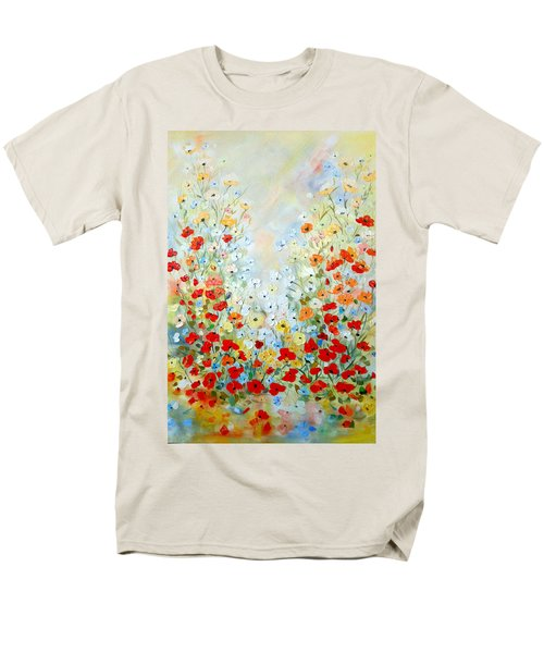 Men's T-Shirt  (Regular Fit) featuring the painting Colorful Field Of Poppies by Dorothy Maier