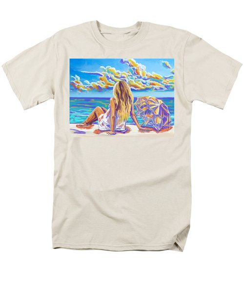 Colorful Woman At The Beach Men's T-Shirt  (Regular Fit) by Tim Gilliland