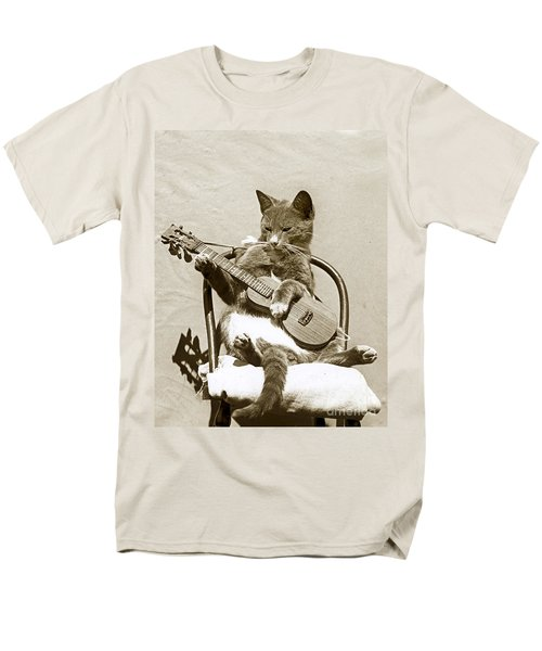 Men's T-Shirt  (Regular Fit) featuring the photograph Cool Cat Playing A Guitar Circa 1900 Historical Photo By Photo  Henry King Nourse by California Views Mr Pat Hathaway Archives