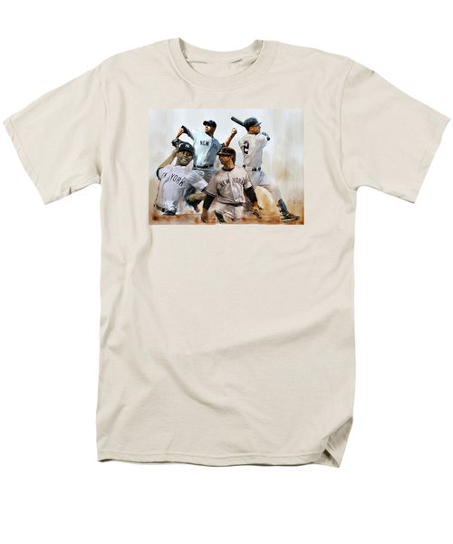 Core  Derek Jeter Mariano Rivera  Andy Pettitte Jorge Posada Men's T-Shirt  (Regular Fit) by Iconic Images Art Gallery David Pucciarelli