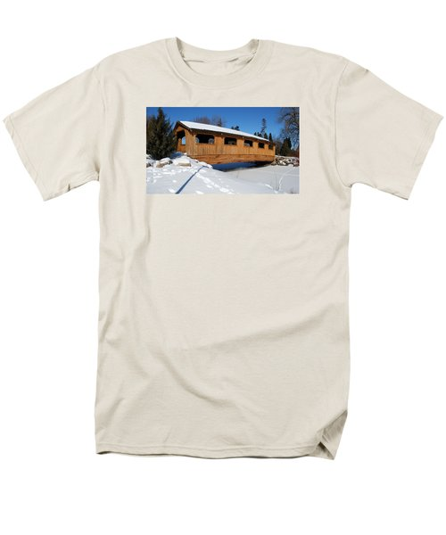 Men's T-Shirt  (Regular Fit) featuring the photograph Covered Bridge Crossing The Stream by Janice Adomeit