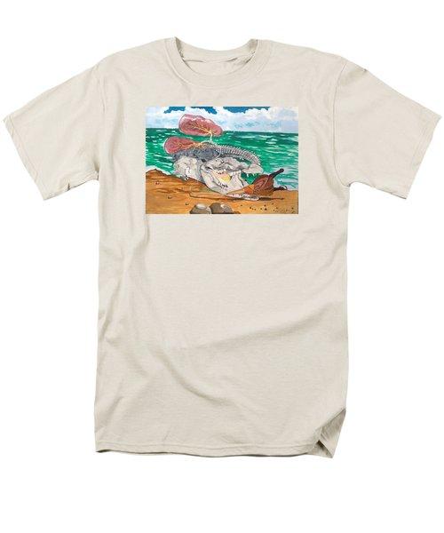 Men's T-Shirt  (Regular Fit) featuring the painting Crocodile Emphysema by Lazaro Hurtado