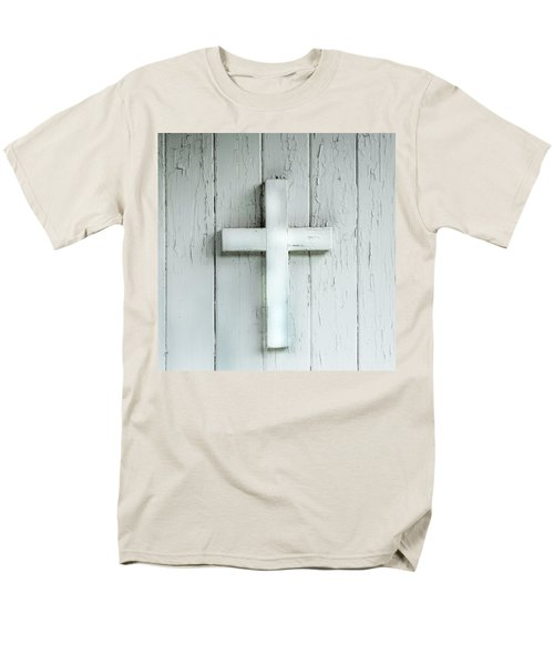 Cross On Holy Angels Sugar Island Michigan Men's T-Shirt  (Regular Fit) by Evie Carrier