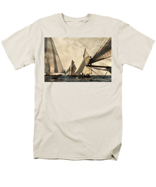 A Vintage Processed Image Of A Sail Race In Port Mahon Menorca - Crowded Sea Men's T-Shirt  (Regular Fit) by Pedro Cardona