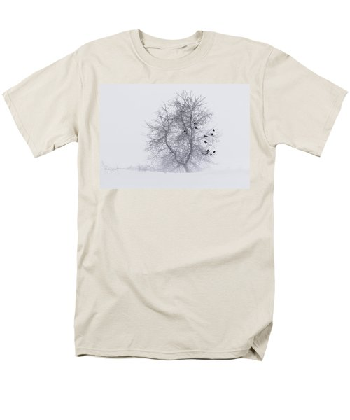 Crows On Tree In Winter Snow Storm Men's T-Shirt  (Regular Fit) by Peter v Quenter