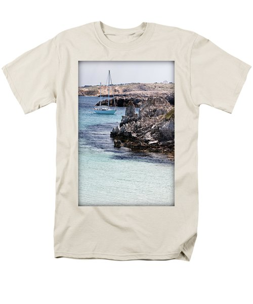 In Cala Pudent Menorca The Cutting Rocks In Contrast With Turquoise Sea Show Us An Awsome Place Men's T-Shirt  (Regular Fit) by Pedro Cardona
