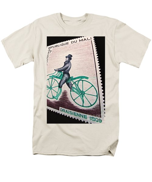 Men's T-Shirt  (Regular Fit) featuring the photograph Draisienne 1809 Vintage Postage Stamp Print by Andy Prendy