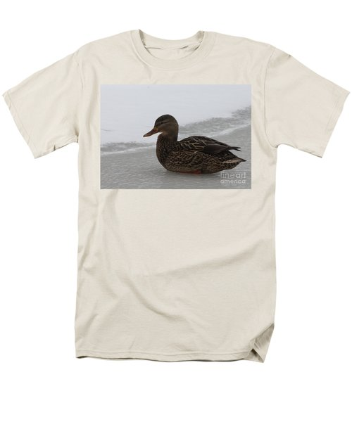 Men's T-Shirt  (Regular Fit) featuring the photograph Duck On Ice by John Telfer