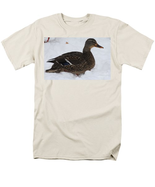 Men's T-Shirt  (Regular Fit) featuring the photograph Duck Playing In The Snow by John Telfer