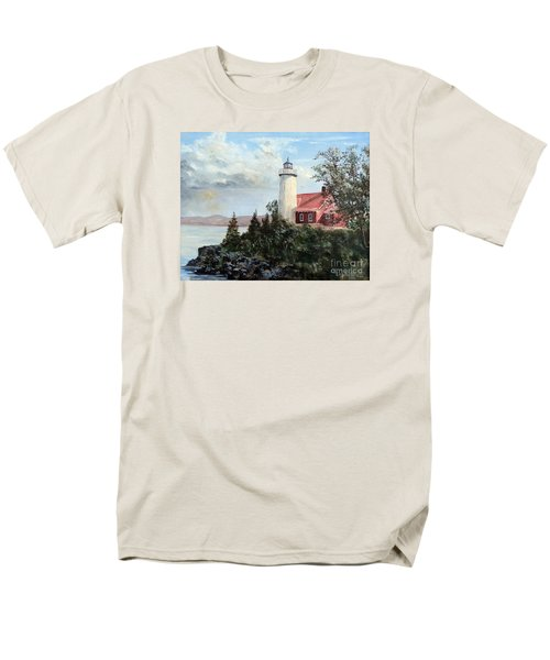 Men's T-Shirt  (Regular Fit) featuring the painting Eagle Harbor Light by Lee Piper