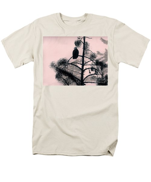 Men's T-Shirt  (Regular Fit) featuring the drawing Eagle In Pink Sky by D Hackett