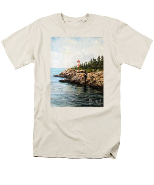 Men's T-Shirt  (Regular Fit) featuring the painting East Quoddy Head Light by Lee Piper