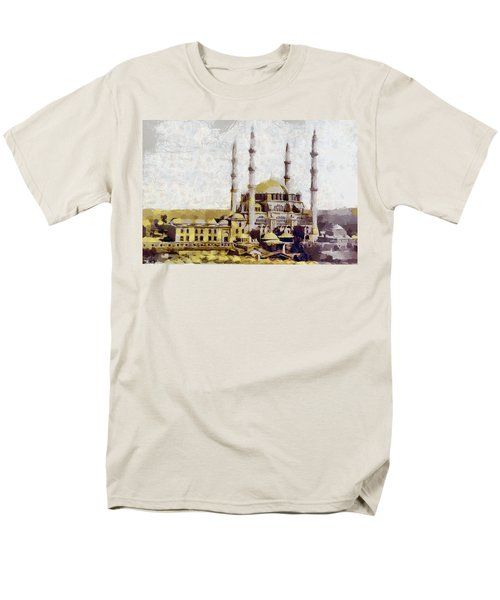 Men's T-Shirt  (Regular Fit) featuring the painting Edirne Turkey Old Town by Georgi Dimitrov