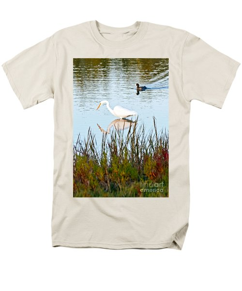 Men's T-Shirt  (Regular Fit) featuring the photograph Egret And Coot In Autumn by Kate Brown